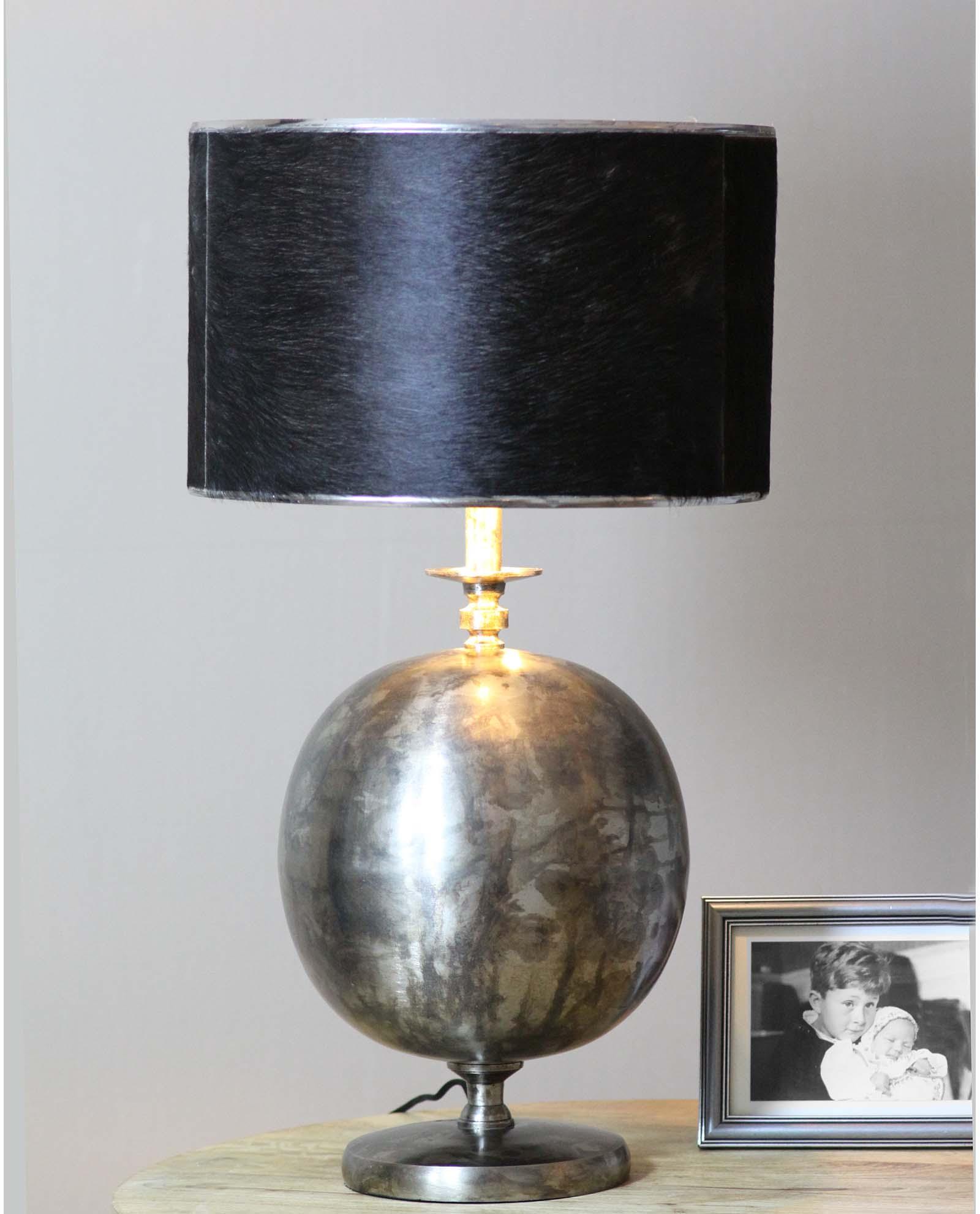 Jacob, Vintage Bordlampe, Ball mskinn skjerm, total høyde
